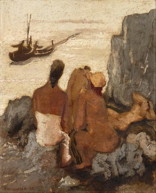 Fausto Pirandello, 'Bagnanti sugli scogli', 1931, Painting, Oil on panel, Finarte