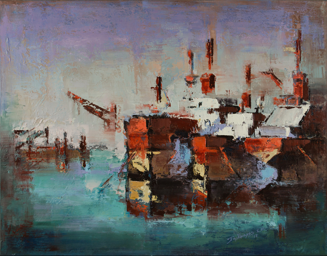 , 'Ships at Harbour,' 2017, Rebecca Hossack Art Gallery