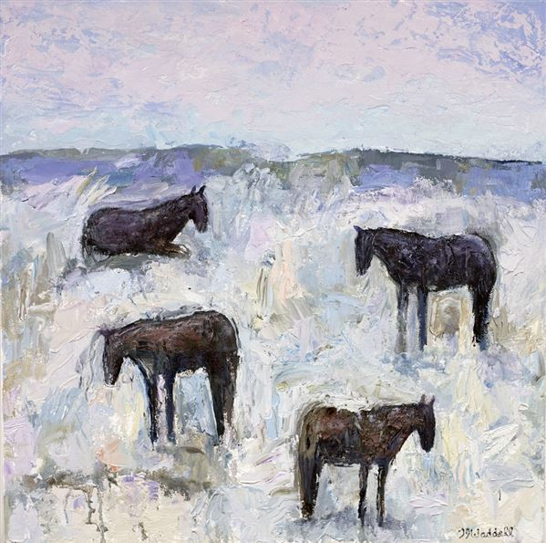 Theodore Waddell, 'Winter Horses #10', 2018, Painting, Oil and encaustic on canvas, Gerald Peters Gallery