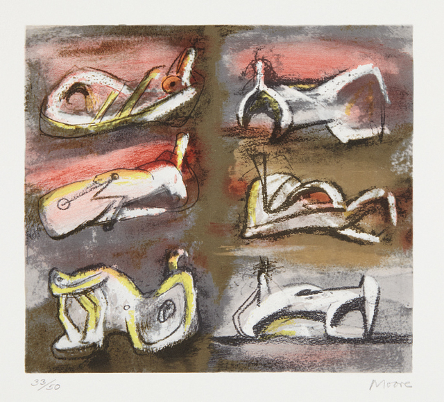 Henry Moore, 'Six Reclining Figures with Red Background', 1981, Phillips