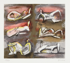 Henry Moore, 'Six Reclining Figures with Red Background,' 1981, Phillips: Evening and Day Editions (October 2016)