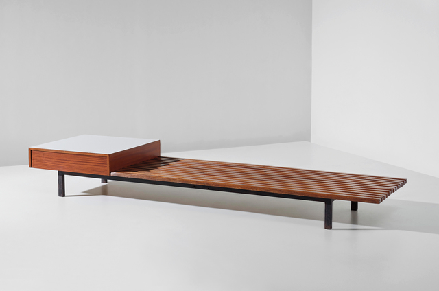 Charlotte Perriand, 'Bench with drawer, from Cité Cansado, Mauritania', circa 1962, Phillips