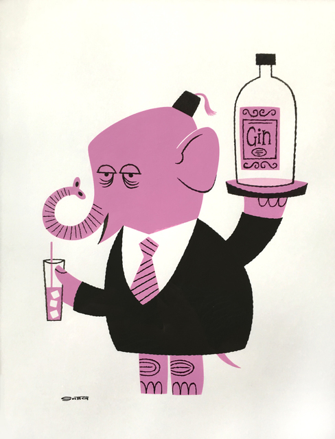 , 'Pink Elephant with Vodka,' 2016, Jonathan LeVine Projects