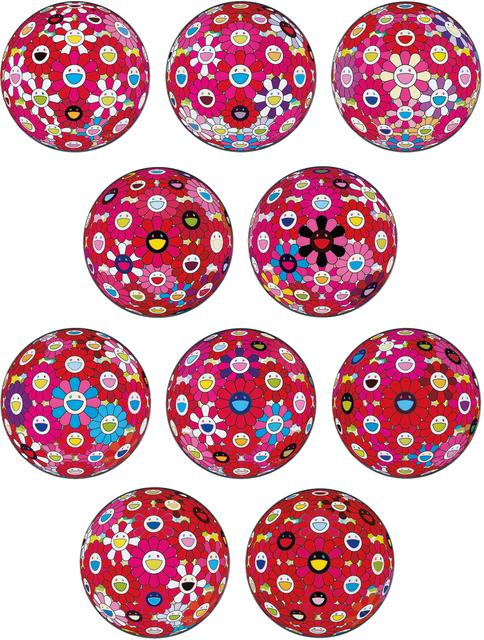 Takashi Murakami, 'Flowerball (3D) - Papyrus; Flowerball (3D) – Turn Red!; Groping for the Truth; Letter to Picasso; There is Nothing Eternal in this World. That is Why You Are Beautiful; Flowerball (3D) – Blue, Red; Hey! You! Do You Feel What I Feel; Flowerball (3D) – Red, Pink, Blue; Comprehending the 51st Dimension; and Flowerball (3D) – Red Ball', 2013-2014, Phillips