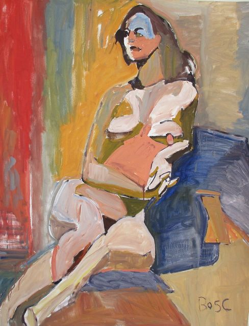 , 'Woman Leaning on Blue Cushions,' , Desta Gallery