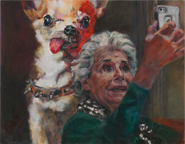 Daena Title, 'Selfie With Dog Painting', 2018, Painting, Acrylic on Canvas Board, Carter Burden Gallery
