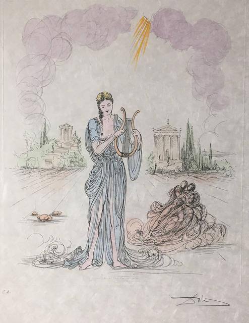 Salvador Dalí, 'Erato (Deesee de la Poesie Lyrique) (Erato (Goddess of Lyric Poetry))', 1971, Print, Color engraving on woven Japon paper, Baterbys