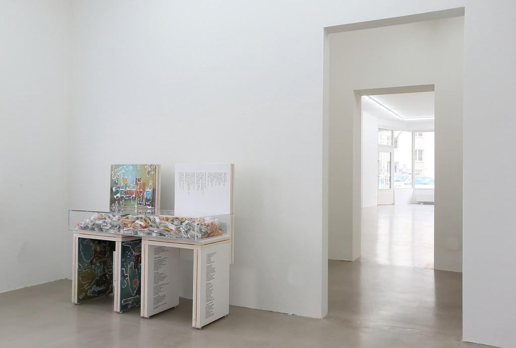 "installation view ""Letters to the Red Krayola"", Kadel Willborn, Düsseldorf, Germany, 2013"