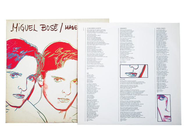 """Andy Warhol, 'Miguel Bosé / """"Made in Spain"""" & """"Milano-Madrid""""', 1983, Painting, Trois impressions offset sur pochette de disque et disque 33t., NextStreet Gallery"""
