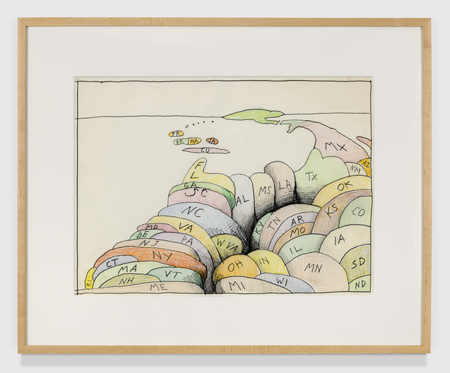 Saul Steinberg, 'untitled', 1986-1990, Drawing, Collage or other Work on Paper, Felt marker, crayon, pencil with erasures, TOTAH