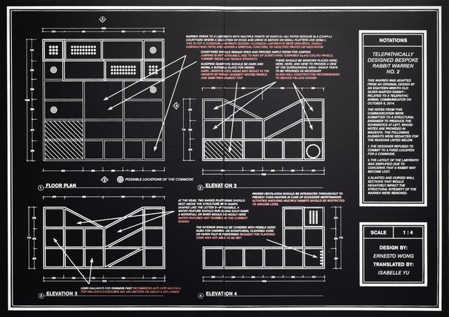Adrian Wong, 'Telepathically Designed Bespoke Rabbit Warren No. 2 Annotated Schematics', 2019, Carrie Secrist Gallery