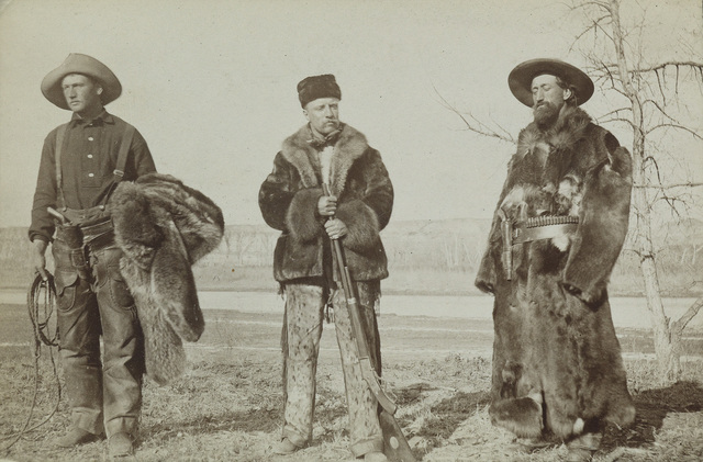 Attributed to Truman Ward Ingersoll, 'Teddy Roosevelt, William Wingate Sewall, and Wilmot Dow, Little Missouri River, North Dakota', 1886, Swann Auction Galleries