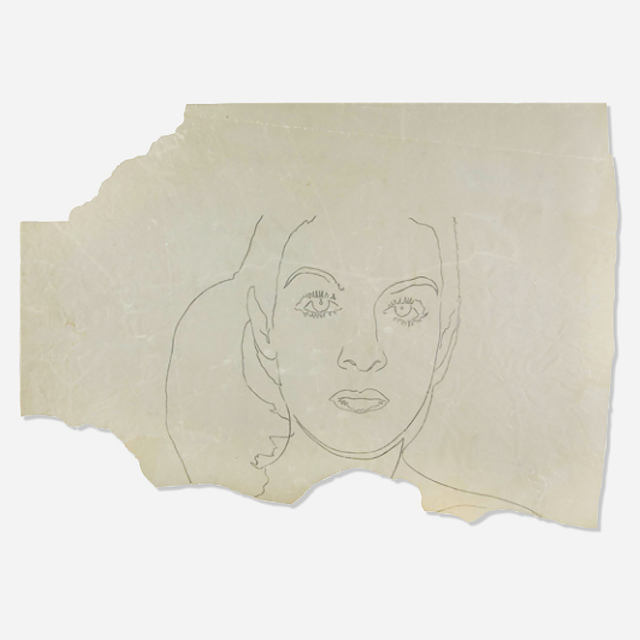 Andy Warhol, 'Paloma Picasso', 1975, Drawing, Collage or other Work on Paper, Graphite on vellum, Artsy x Rago/Wright
