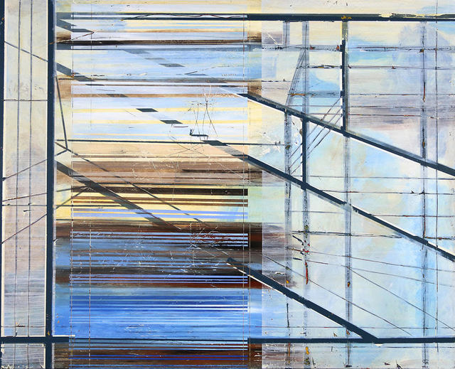 """Jylian Gustlin, '""""Entropy 50"""" Abstract mixed media painting with blue, black, grey and yellow lines', 2019, Eisenhauer Gallery"""