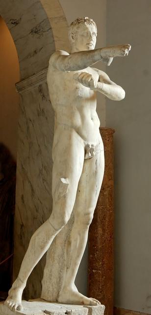 Lysippos, 'The Man Scraping Himself (Apoxyomenos), Roman copy after the original bronze of ca. 350-325 B.c.', 1st century A.D., Sculpture, Marble, Art History 101