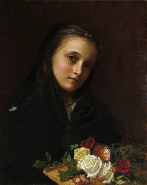 William Gilbert Gaul, 'Girl with Flowers', ca. 1880, Vose Galleries