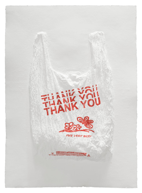 , 'THANK YOU THANK YOU THANK YOU THANK YOU THE VERY BEST Plastic Bag,' 2016, Mixografia