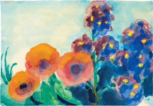 Emil Nolde, 'Poppies and Larkspur', 1951/1955, Drawing, Collage or other Work on Paper, Watercolour on Japanese paper, Galerie Kovacek & Zetter