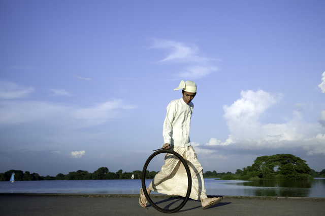 , 'Bicycle Tire Rolling Event from Yangon: Bank of Innya Lake,' 2013, 10 Chancery Lane Gallery