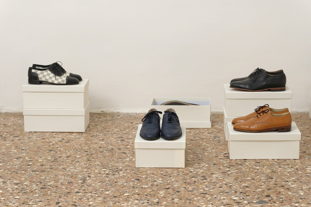 Christodoulos Panayiotou, Untitled, 2015, seven pairs of handmade leatherette