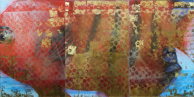 """Carol Bennett, '""""Flame Angel"""" triptych abstract reverse painting of an orange tropical fish on glass', 2012, Eisenhauer Gallery"""