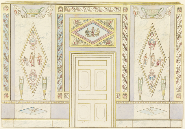 Frederick Crace, 'Wall Elevation', 1815-1822, Drawing, Collage or other Work on Paper, Pen and black ink and watercolors on wove paper, Cooper Hewitt, Smithsonian Design Museum