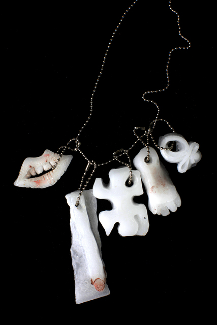 Naomi Fisher, 'Lips, finger, puzzle, foot, squiggle', 2016, Sculpture, Handmade peppermint essential oil infused paraffin wax and pigment charms on chain, Cultured Magazine