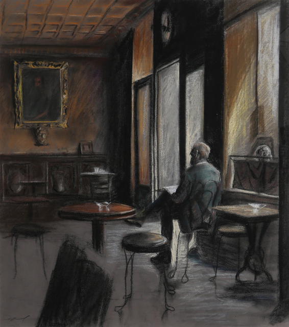 Harry McCormick, 'Man Reading in Cafe', ca. 1980, RoGallery