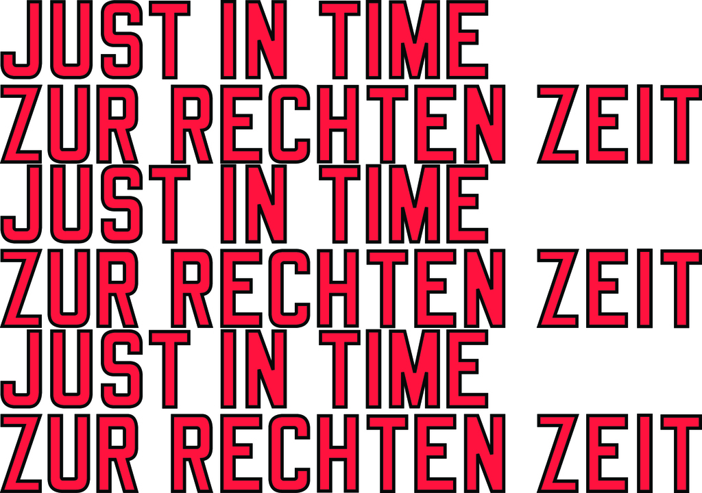 Invitation card - Lawrence Weiner JUST IN TIME  for Galerie Hubert Winter, Vienna