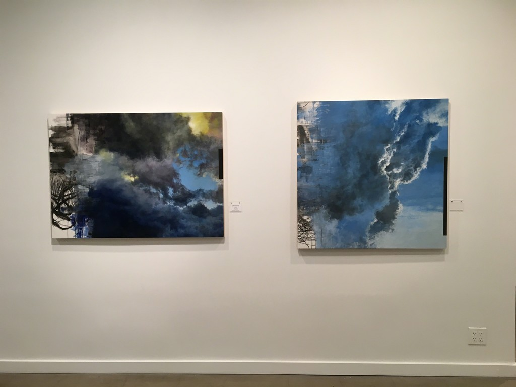 "Peter Roux ""Suspension (East Sky) IX"" (left) and ""Suspension (East Sky) X"" (right)"