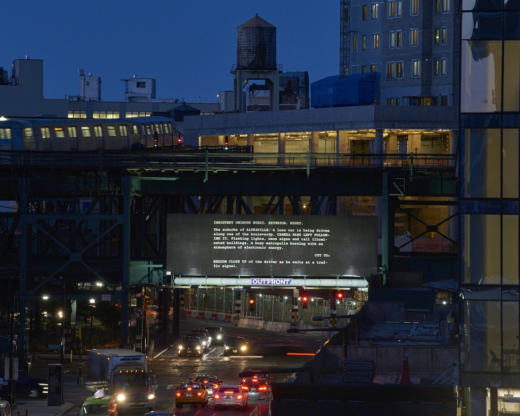 Alejandro Cesarco, Words Like Love: Alphaville, First Scenes, 2017, installation view, Jackson Avenue and Queens Plaza, Long Island City, New York. Billboard. 14 x 48 feet (4.3 x 14.6 m). Commissioned by SculptureCenter, New York. Courtesy the artist. Photo: Kyle Knodell