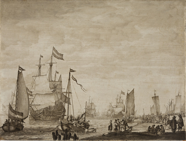 Willem van de Velde I, 'Two Boeier Yachts Close in to the Shore with a Flagship Coming in to Anchor', ca. 1650, Davis Museum