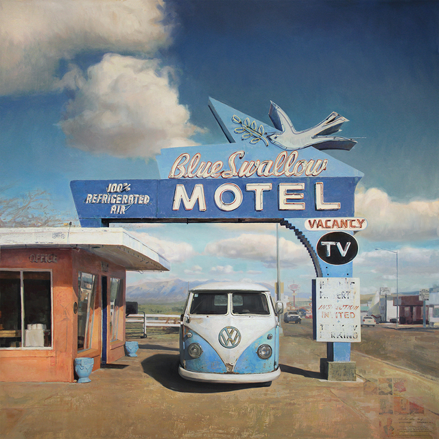 , 'Pink Stucco, Blue Neon,' 2018, Sue Greenwood Fine Art