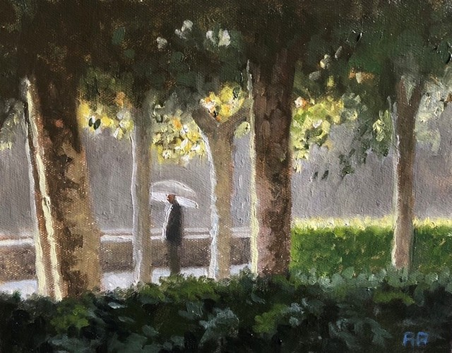 Rick Perez, 'Pamplona Park in the Rain', 2015, Painting, Oil, The Galleries at Salmagundi