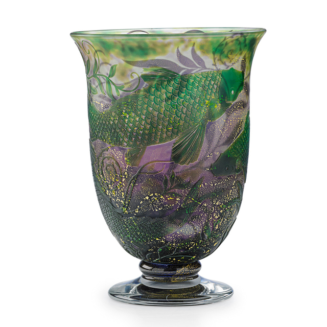 Jonathan Harris, 'Coupe With Carp And Decorated Interior, England', 2012, Design/Decorative Art, Acid-Etched Cameo Glass (Exterior And Interior), Foil Inclusions, Rago/Wright