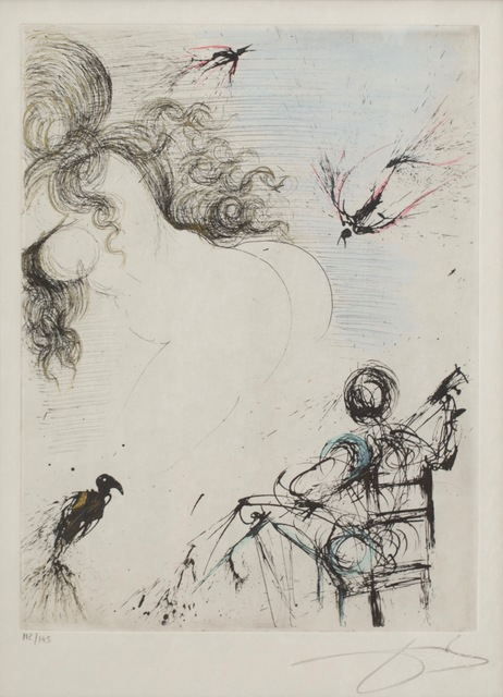 Salvador Dalí, 'Femme au Perroquet (Woman with parrot; from Peomes Secrets by Apollinaire)', 1967, Rachael Cozad Fine Art