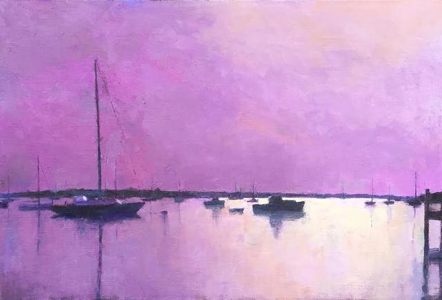 ", '""Edgartown Harbor In Mauve"" oil painting of harbor with sailboats in lavender tone,' 2010-2018, Eisenhauer Gallery"