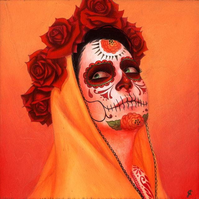 "Sylvia Ji, '""Catrina, Sol Amarillo""', 2020, Painting, Acrylic on wood panel, Corey Helford Gallery"