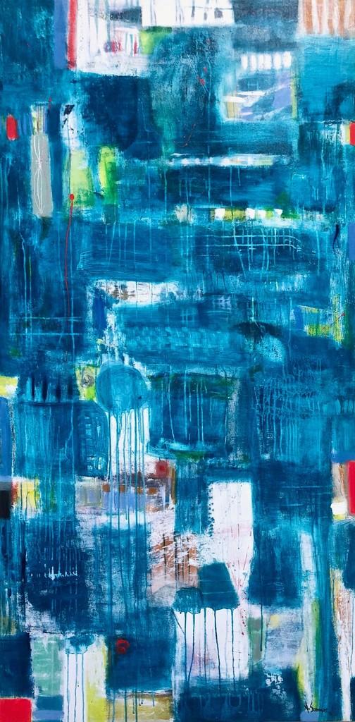 Colmado. Year 2018. Acrylic on canvas, 183 x 92/72´x 36,2´. Artist: Astrid Sommer