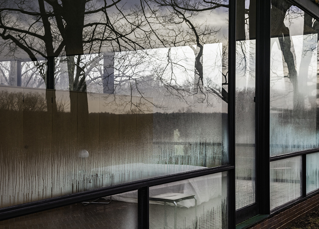 Richard Barnes, 'Condensation From Exterior Looking In, Glass House', 2014, Photography, Archival inkjet print mounted to archival substrate, framed in black with UltraVue70, Bau-Xi Gallery