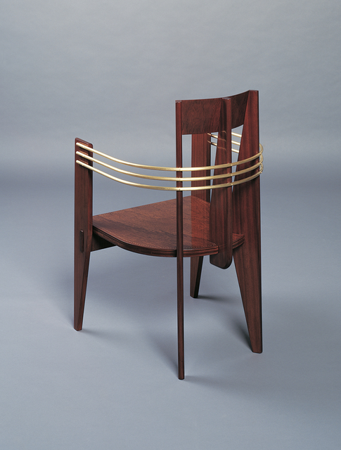 André Sornay, 'Four « bridge » armchairs', ca. 1937, Design/Decorative Art, Mahogany with brass nails and solid mahogany. Brass trim., Galerie Alain Marcelpoil