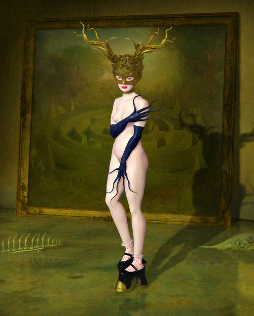 Ray Caesar, 'Minotaur Study', Painting, One of a Kind Digital Ultrachrome Print and Acrylic Paint Single Varnished on Board, Dorothy Circus Gallery