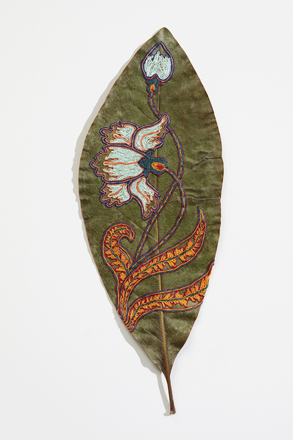 Hillary Waters Fayle, 'Blooms For Grace 3', 2020, Mixed Media, Embroidered magnolia leaf. Framed, Hashimoto Contemporary