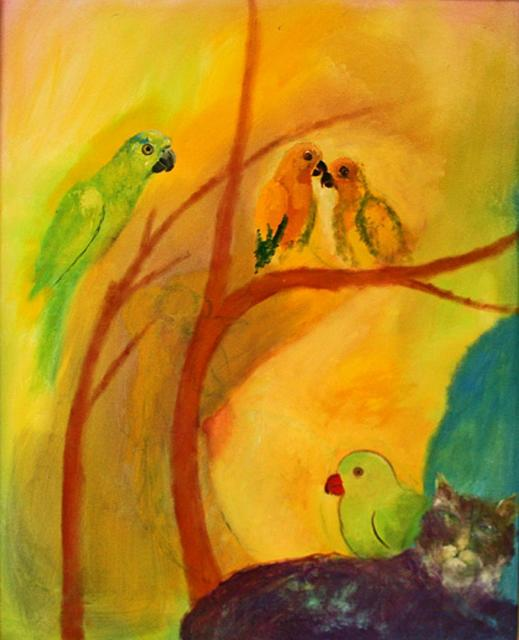 , 'Parrots and cat on yellow ground,' Undated, The Noble Sage Collection