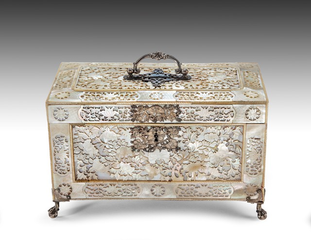 , 'Fretwork Mother of Pearl Tea Casket with English silver mounts and English Chinoiserie silver tea canisters,' ca. 1760, Thomas Coulborn & Sons
