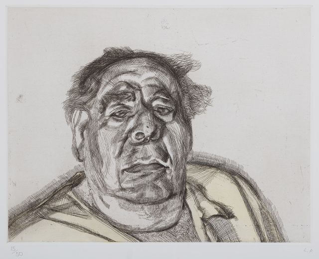 Lucian Freud, 'Lord Goodman in his Yellow Pyjamas', 1987, Marlborough
