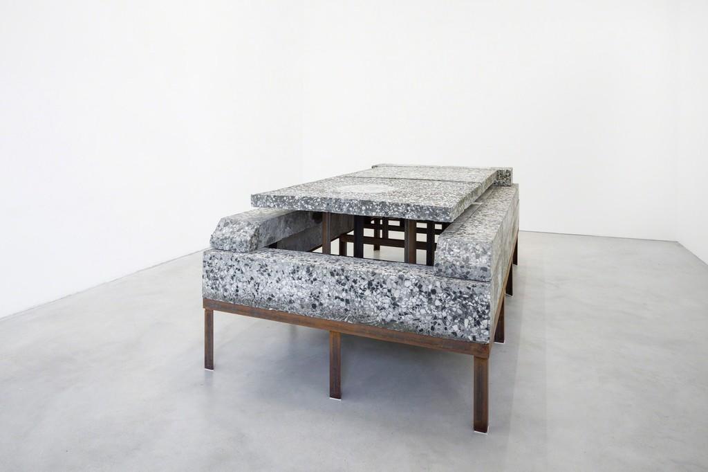 229 x 118 x 75, steel, terrazzo, felt, 229 x 118 x 75 cm, Installation view Galerie Nordenhake