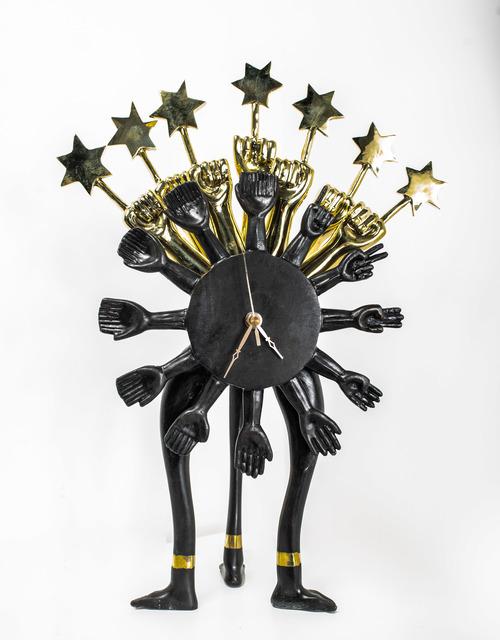 Pedro Friedeberg, 'Cronómetro Cabalístico Quiromántico en negro', 2019, Sculpture, Bronze and gold leaf, MAIA Contemporary
