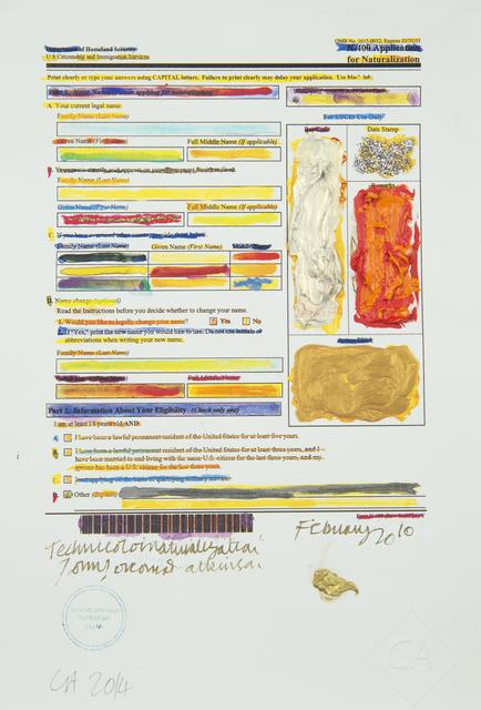 , 'Conrad Atkinson's Naturalization Form,' 2010, Ronald Feldman Gallery