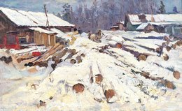 Lidya Stanislavovna Nefedova, 'Logging', 1949, Painting, Oil on canvas, Surikov Foundation